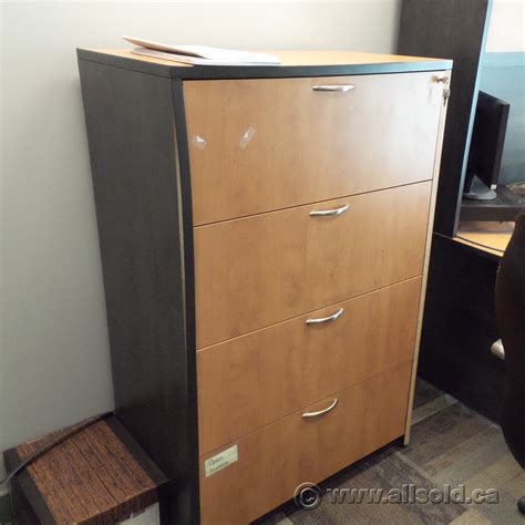 Maple Lateral File Cabinet Maple And Black 4 Drawer Lateral File Cabinet 36 Quot Locking Allsold Ca Buy Sell Used