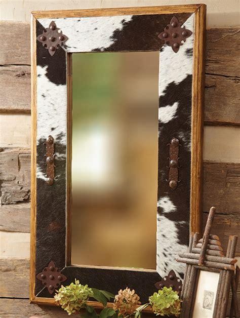 Cowhide Mirror - cowhide mirror with metal medallions