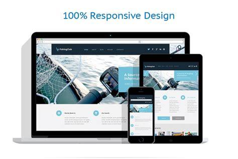 html responsive design layout template wordpress per un sito di pesca