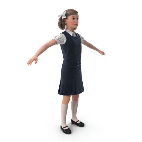 3d little girl pw 3d little school girl rigged