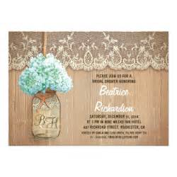 Rustic Wedding Shower Invitations rustic jar turquoise hydrangea bridal shower custom