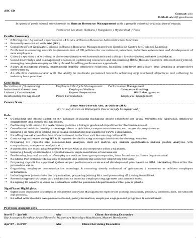 hr manager resume format pdf sle hr manager resume 9 exles in word pdf