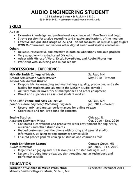 career objective for production engineer audio engineer resume best template collection