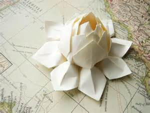 Lotus Flower Decorations Lotus Flower Handmade Origami Paper Flower All By Fishandlotus