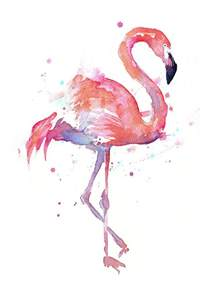 Watercolour Duvet Cover Flamingo Watercolor Facing Right Painting By Olga Shvartsur