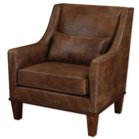 nailhead armchair brown faux leather nailhead armchair scenario home