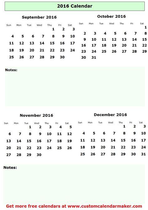 Calendar 2015 September To December September To December 2016 Calendar Printable