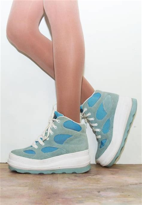 shoes platform shoes sneakers chunky 90s style suede
