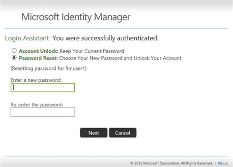 reset microsoft online services password working with the self service password reset portal