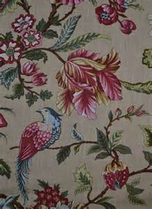 traditional floral and bird print fabric for curtains