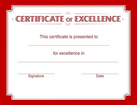 certificate of excellence template certificate templates