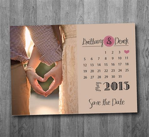 The Date Calendar Card For Bridesmaid Box Free Template by Calendar Save The Date Postcard Printable 15 00 Via