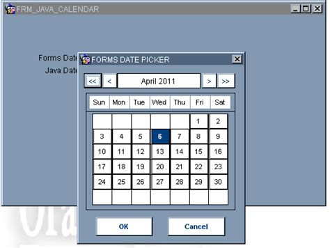 design calendar in java forms how to use a calendar in a form craig s oracle stuff