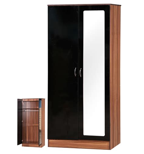 Black Wardrobes Cheap by Alpha 2 Door Mirrored Gloss Wardrobe Discount Furnishings Outlet