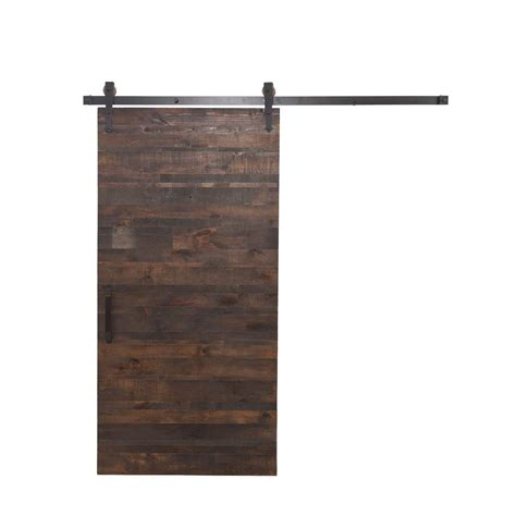 Rustica Hardware 36 In X 84 In Rustica Reclaimed Wood Barn Door Home Depot