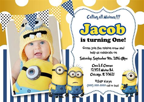 minion birthday card template create own minion birthday invitations modern templates
