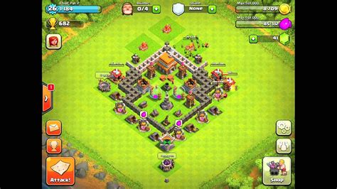 Kaos Clash Of Clans Elixir clash of clans all day base town level 5
