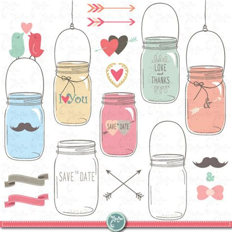 Jar Wedding Clipart by Jars Clipart Pack Wedding Jars Clip