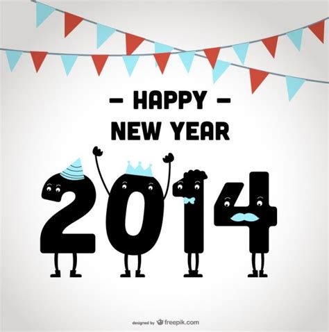 happy new year 2014 celebrating design vector free download