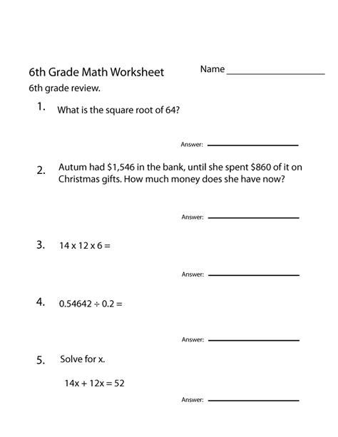 free 6th grade math worksheets activity shelter