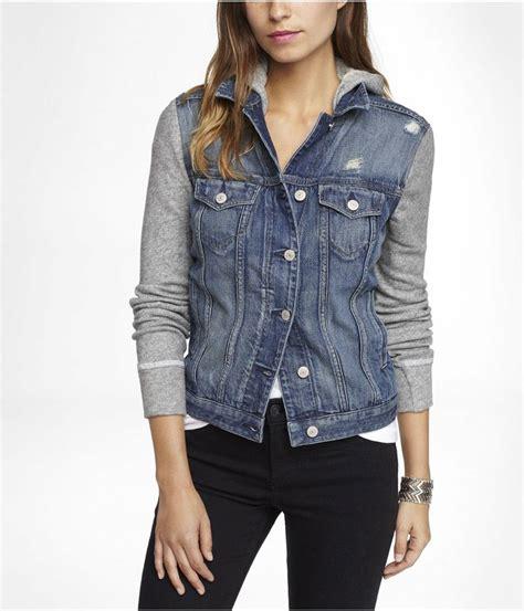 hooded jean jacket sweatshirt sleeve hooded denim jacket express