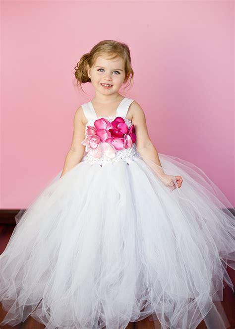 Dress Pink Tutu Flower white flower tutu dress