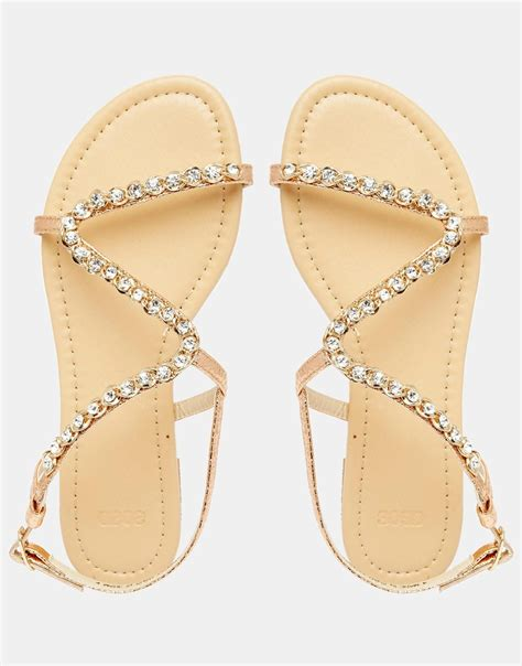 flat embellished sandals asos flirty embellished flat sandals in metallic lyst