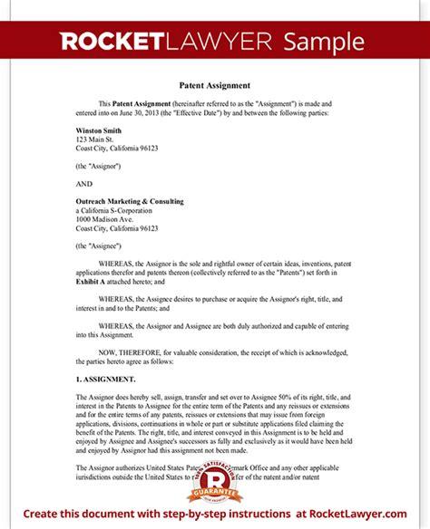 patent assignment form patent assignment form patent assignment agreement template