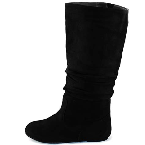black casual flat mid calf slouch boot faux suede womens shoes