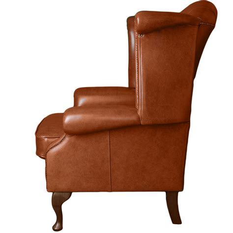 Grain Leather Chair by Grain Leather Chesterfield Scroll Wing Chair