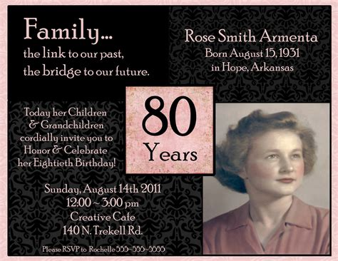 Invitations On Pinterest Birthday Invitations 90th Birthday Invitations And 80th Birthday 80th Birthday Invitations Templates