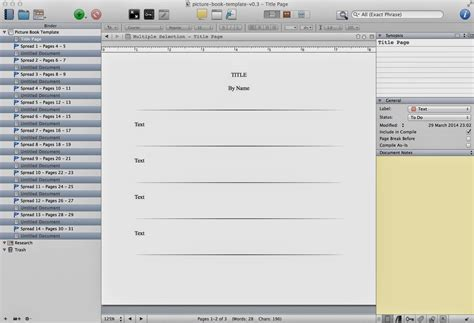 Writing A Picture Book In Scrivener Free Scrivener Template Scrivener Pinterest Template Scrivener Snowflake Template