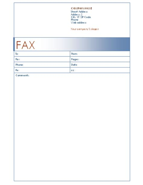 fax cover sheet blue design template for word 2003 or