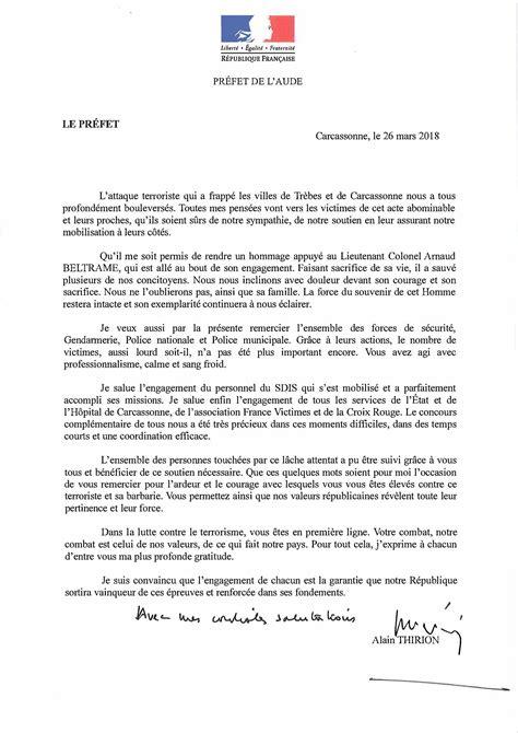 Lettre De Remerciement Travail Effectué attentat lettre de monsieur le pr 233 fet de l aude sdis11
