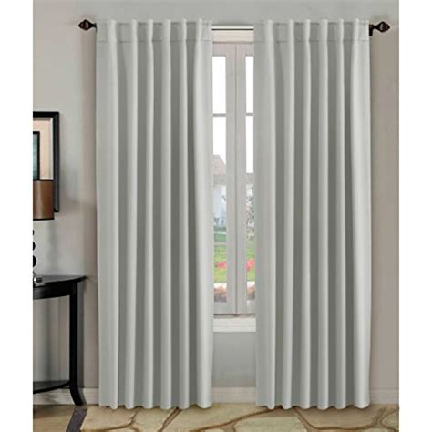 H.Versailtex Thermal Insulated Blackout White Curtains 52×84 inch for Bedroom/Living Room,Back