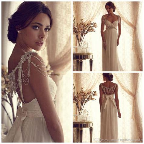 Goddess Style Wedding Dresses by 2014 Goddess Beading Wedding Dresses Chiffon Column