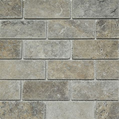 2 x 4 mosaic tile silver travertine tumbled honed