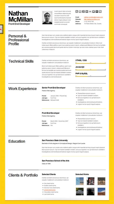 Attractive Cv Templates by 10 Beautiful Resume Html Templates