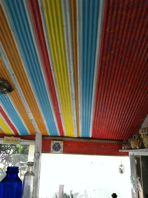 painted  corrugated metal    salvage yard