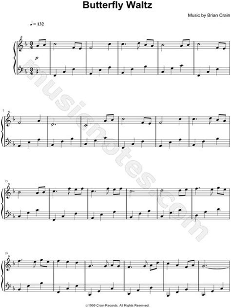 pattern in the ivy lyrics butterfly waltz piano sheet music by brian crain brian