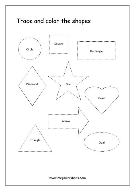 The Trace free shapes worksheets trace and color shapes megaworkbook
