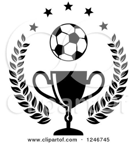 clipart of a black and white soccer ball over a trophy cup