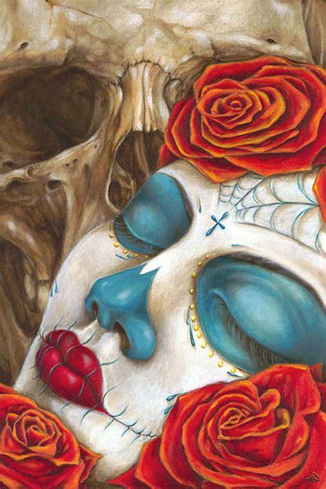 skull amp roses by erik quezada tattoo art print sugar skull