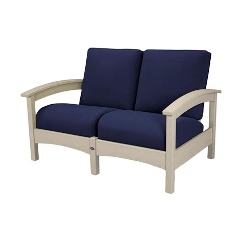 Patio Lounge Chair Home Decorators Collection Naples Light Grey Patio Lounge Chair With Navy Cushions 2 Pack