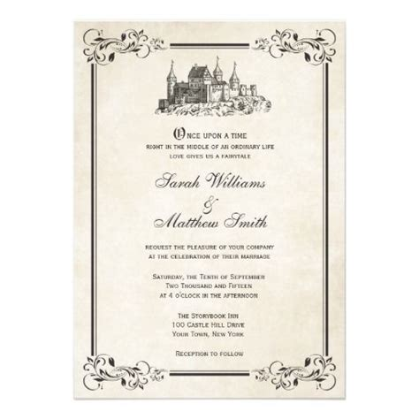 wedding invitation time wording once upon a time fairytale castle wedding invitations