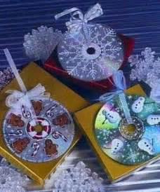 Christmas ornaments made from cds and puffy paint so cute more