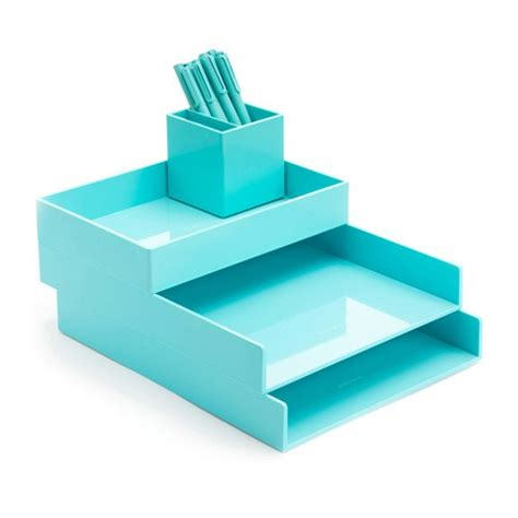 aqua blue desk accessories aqua desktop set desk accessories poppin cubicle