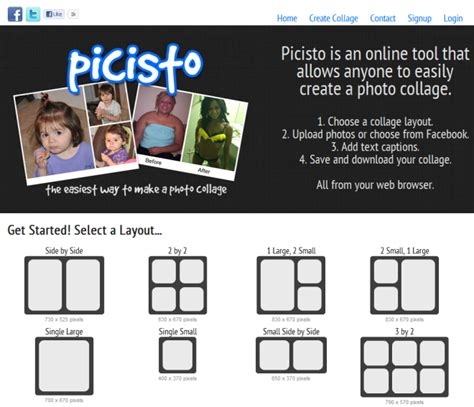 picisto is a free online collage creator with customizable