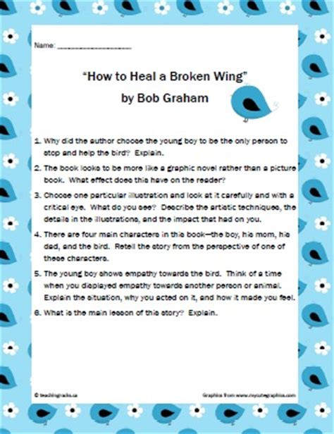 picture books  middle school students   heal  broken wing  bob graham