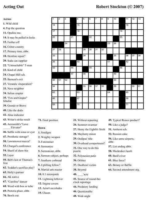 printable movie star crossword puzzles crossword puzzle printable carisoprodolpharm com